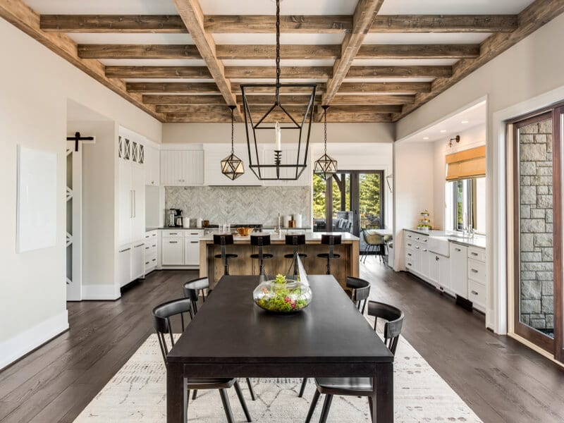 Open concept rustic living room and kitchen