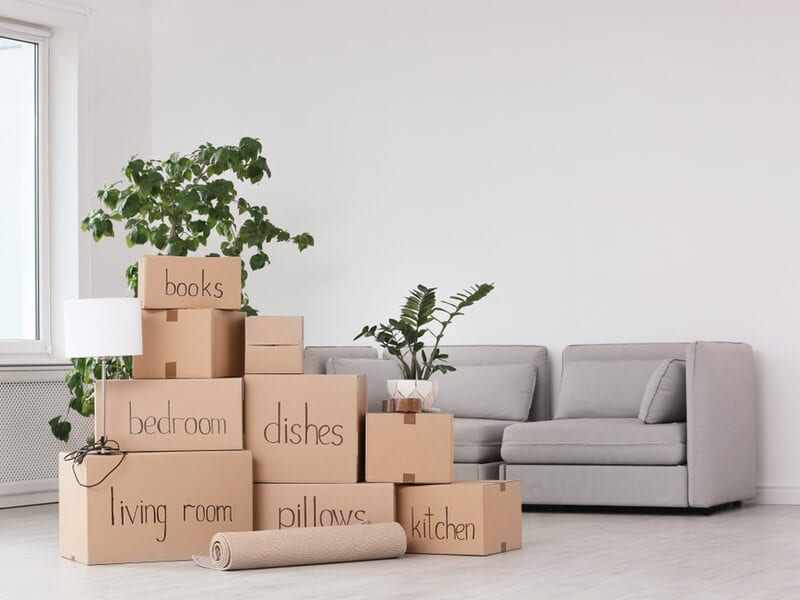 Living room filled with moving boxes.