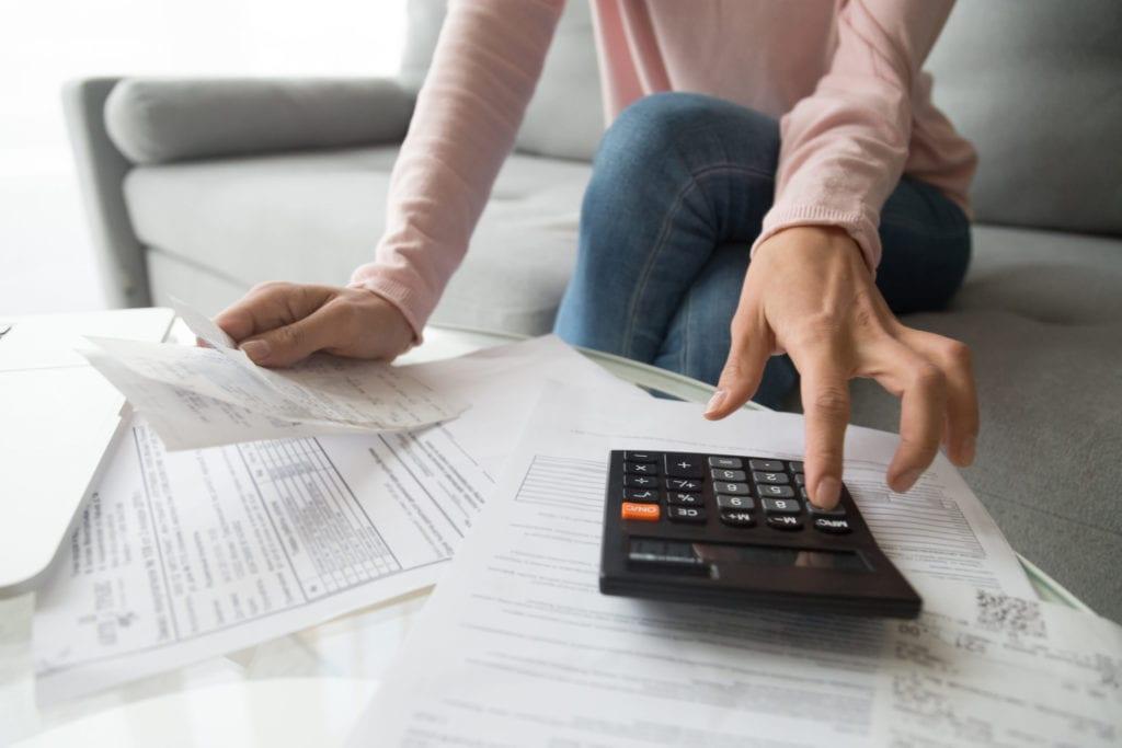woman paying rent