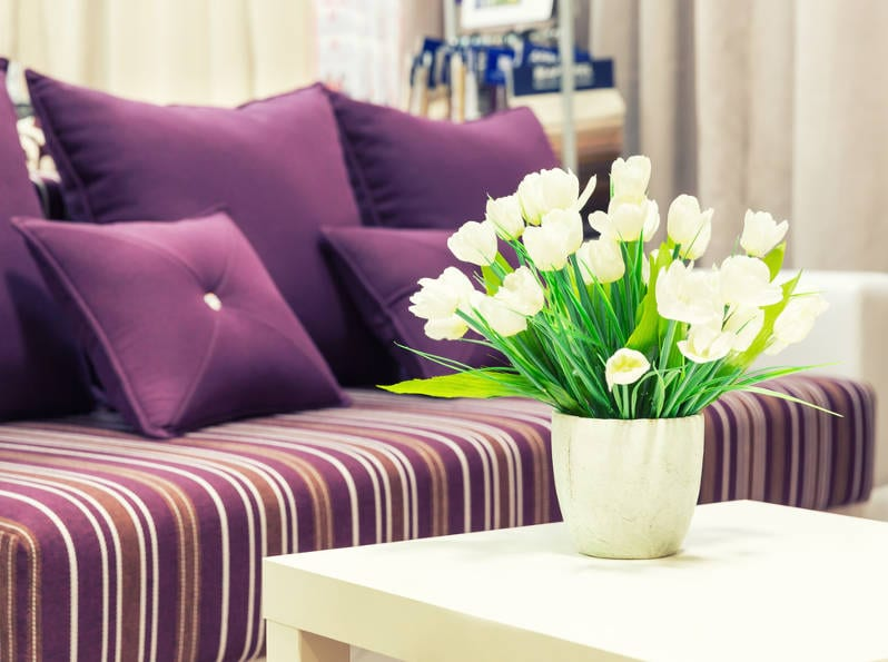 purple textiles and accessories