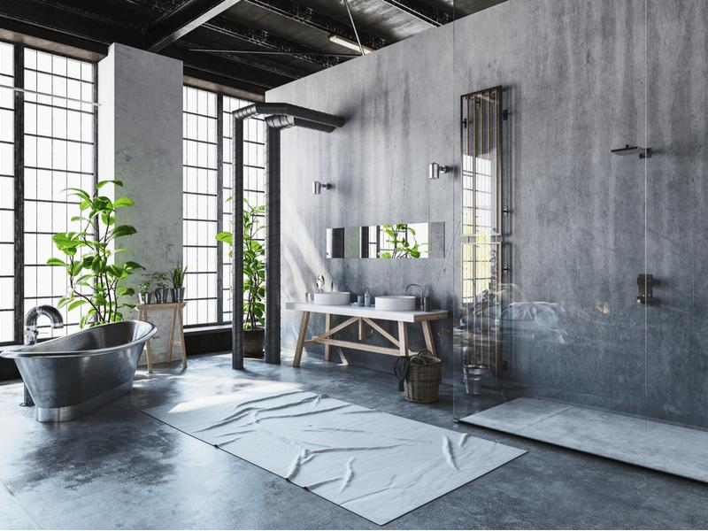 Industrial loft bathroom
