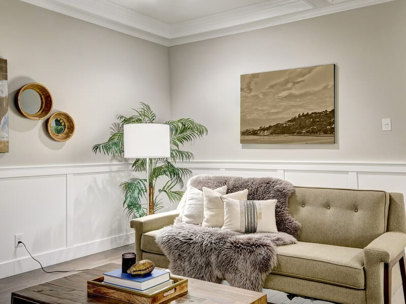Living room with pillow accents.