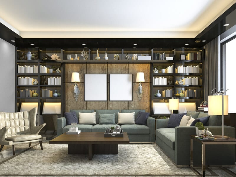 Living room with bookshelves
