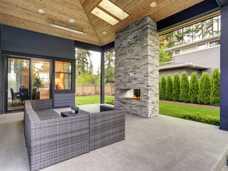 Backyard deck with living area