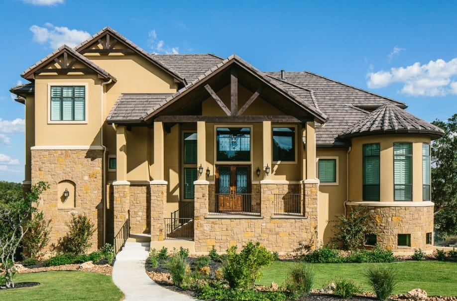 stone and stucco house