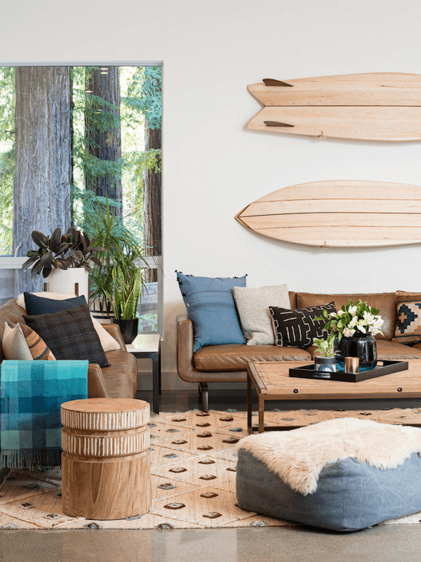 surfboards in home decor - living room