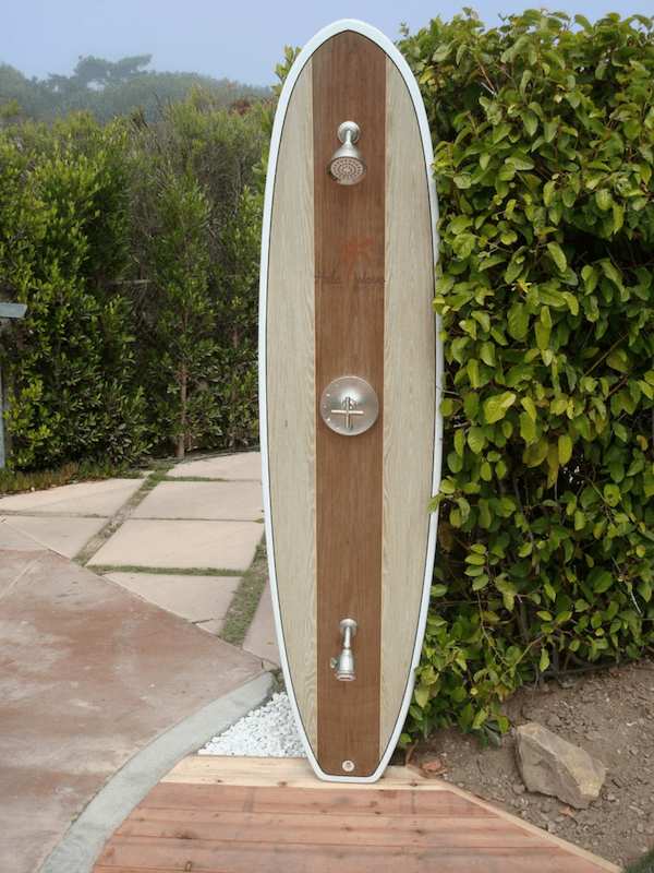 surfboards in home decor - outdoor shower