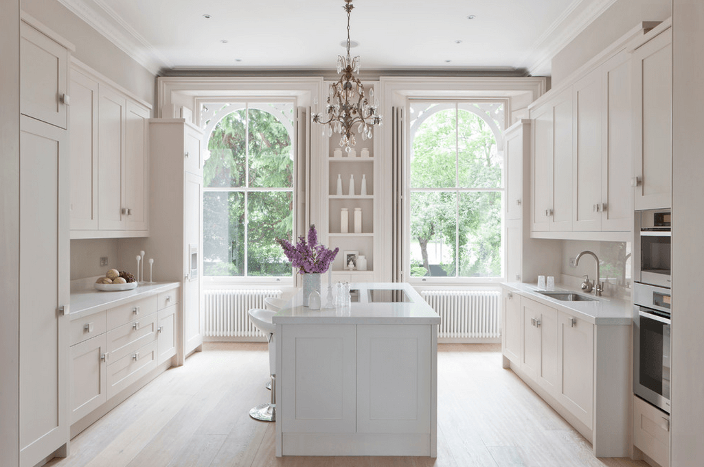 white kitchen with large windows