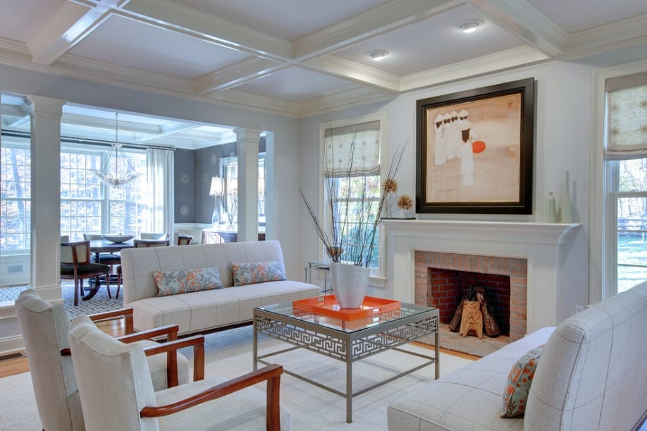 white living room fireplace chairs sofa