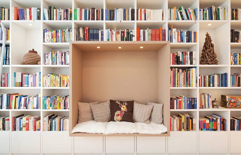 built in bookcase and daybed