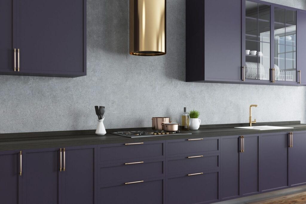 Modern kitchen with dark purple cabinets