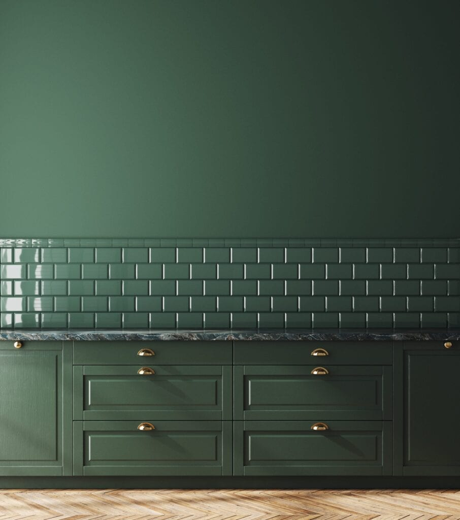 Dark green monochromatic kitchen