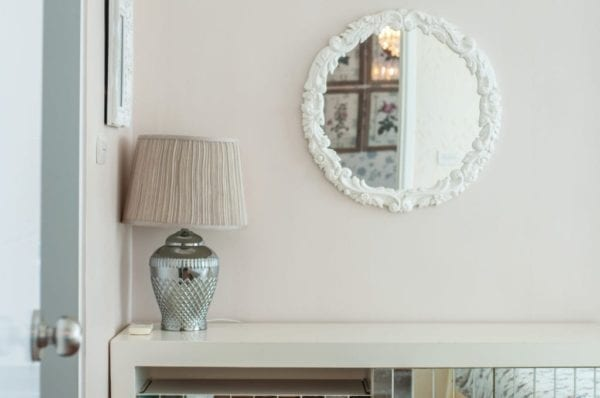 Wall mirror painted white