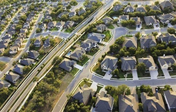 Arial view of a suburb near Austin, Texas