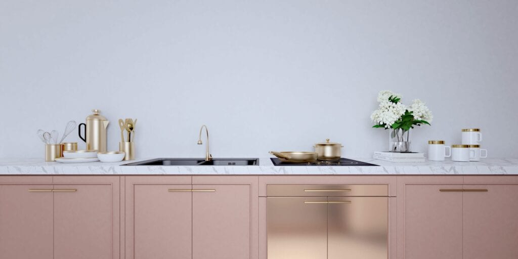 Rose gold kitchen cabinets
