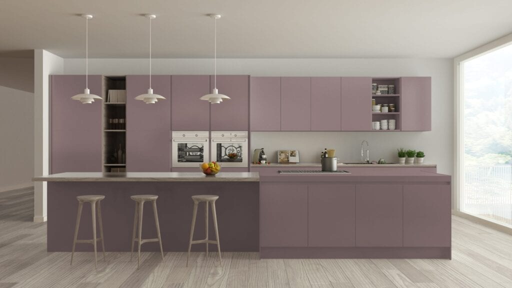 Modern kitchen with lavender cabinets and wooden barstools