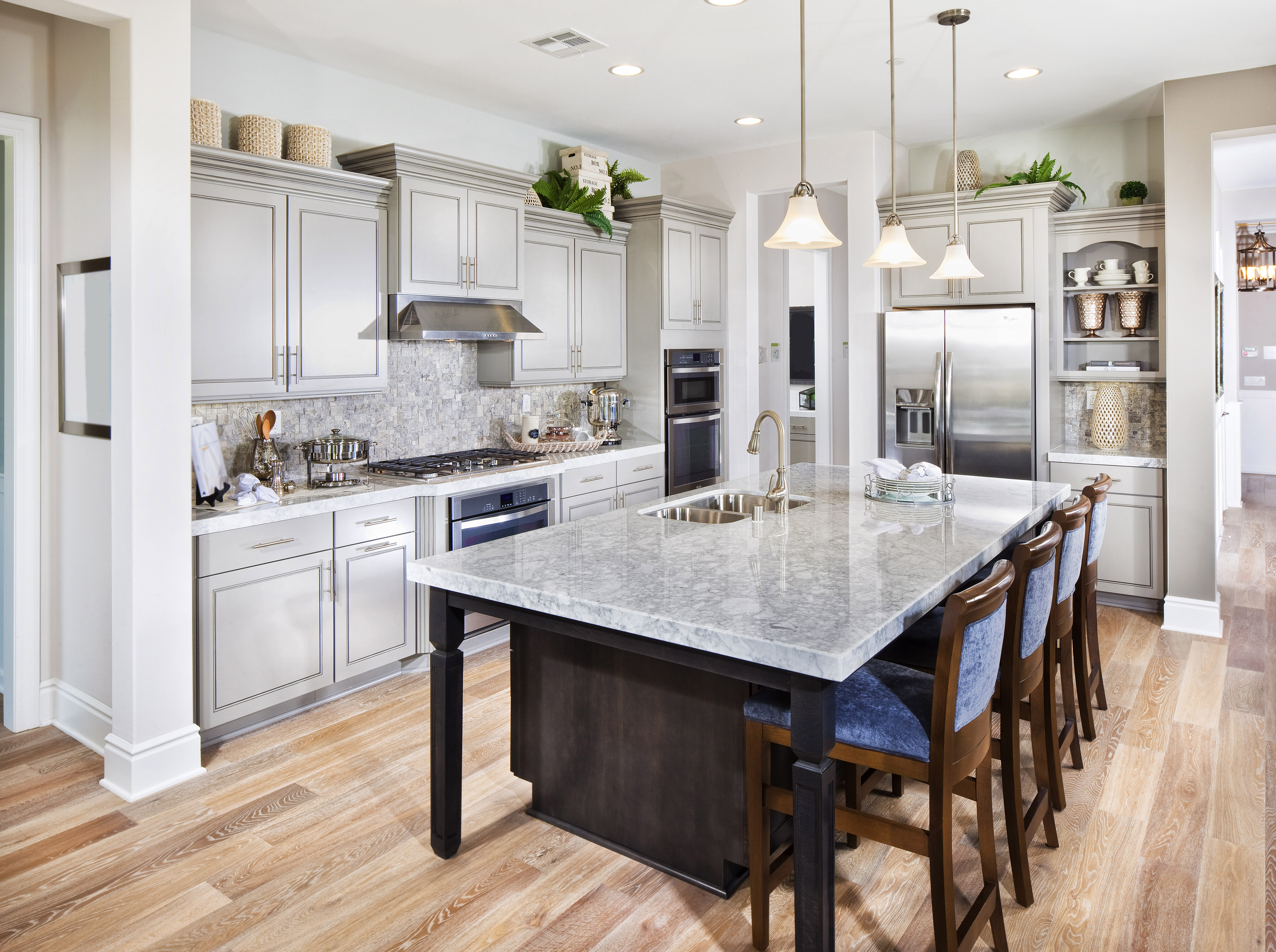 Luxury kitchen with island and stools