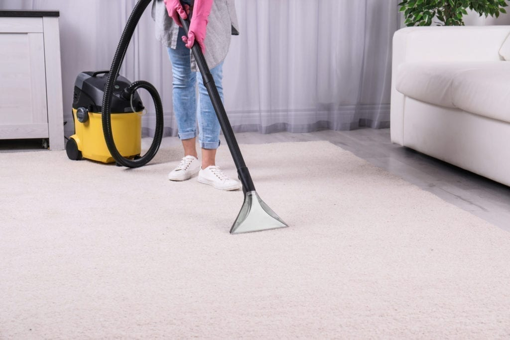 woman carpet cleaning