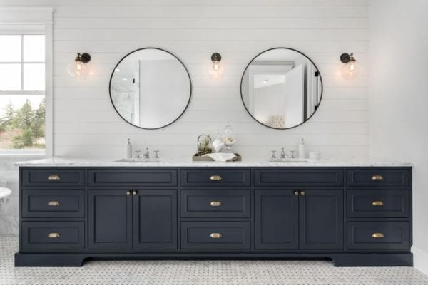 bathroom cabinets painted navy