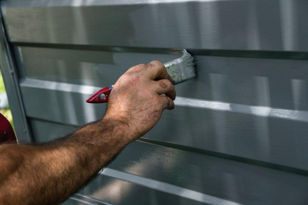 Grey paint, garage door