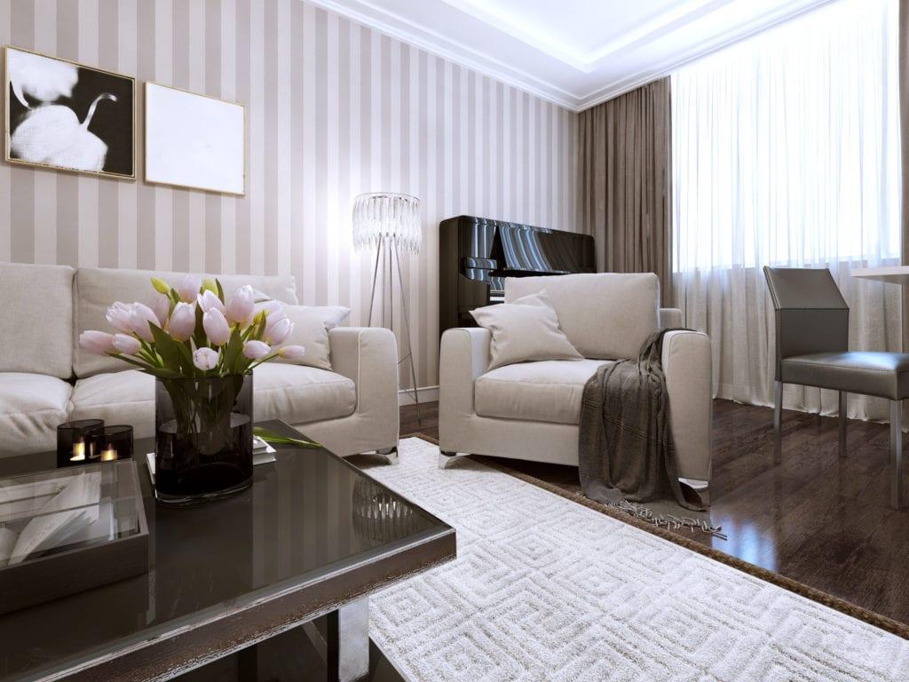 striped grey living room