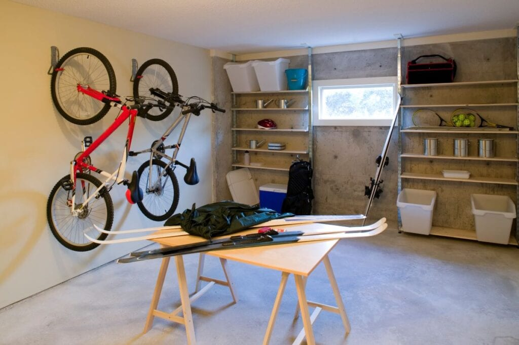Garage organized with wall shelves