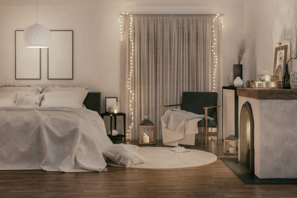 Picture of a cozy bedroom with Christmas decorations. Render image.