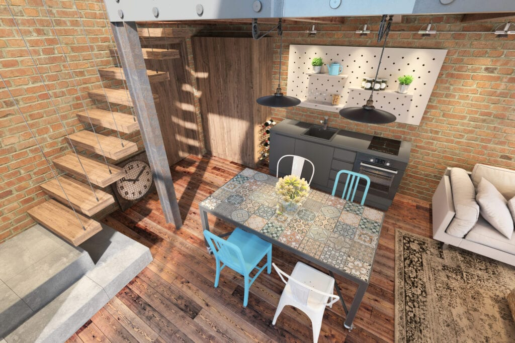 Vintage style interior with industrial style kitchen with dining table and chairs. Scandinavian style brick