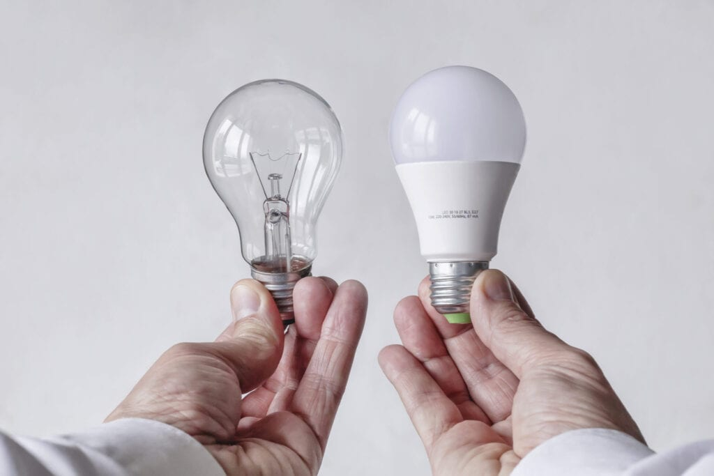 Change the light bulb to save energy