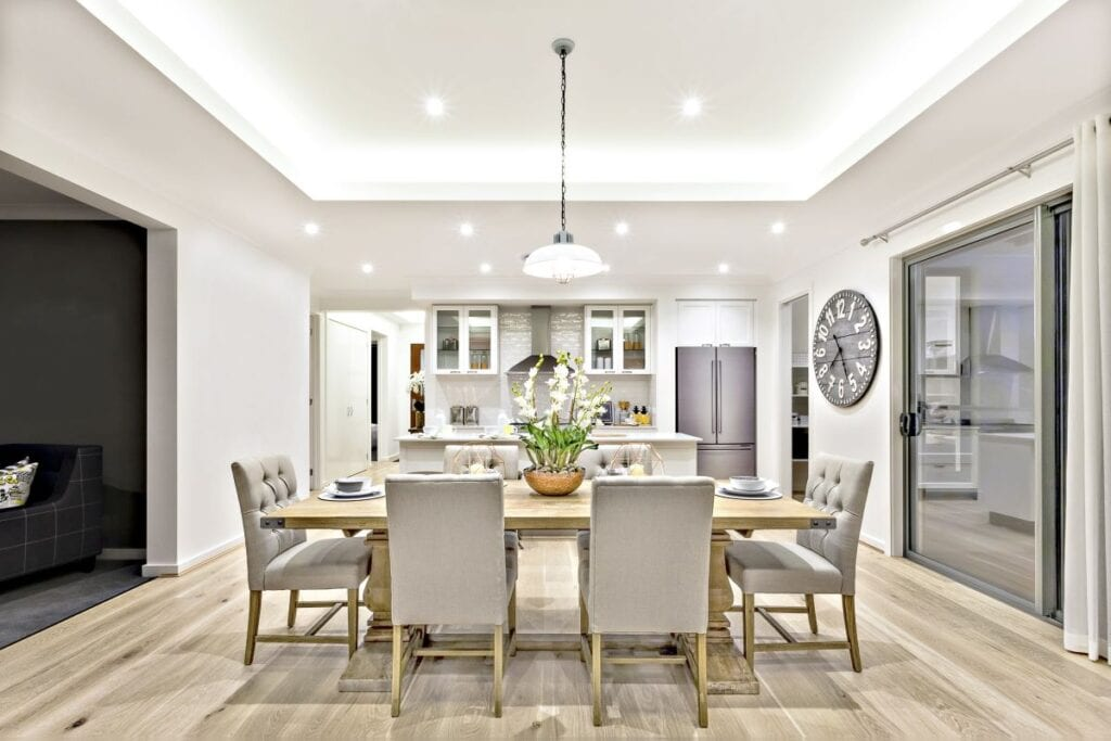 Modern luxury dining room with grey walls