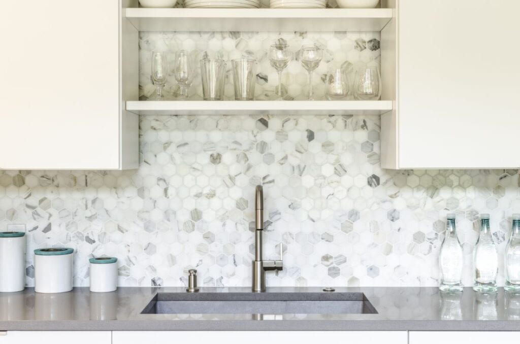 Gray and white kitchen backsplash