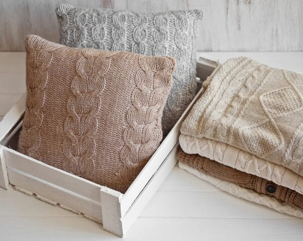 Make pillows out of old fall sweaters!