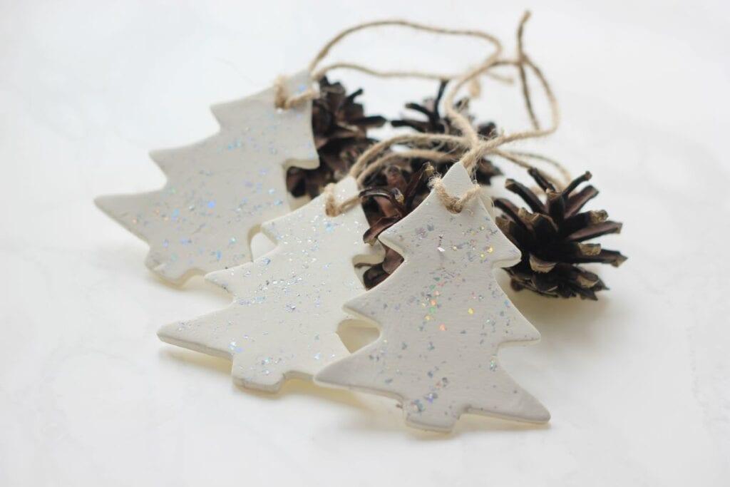 handmade christmas ornaments shaped as trees