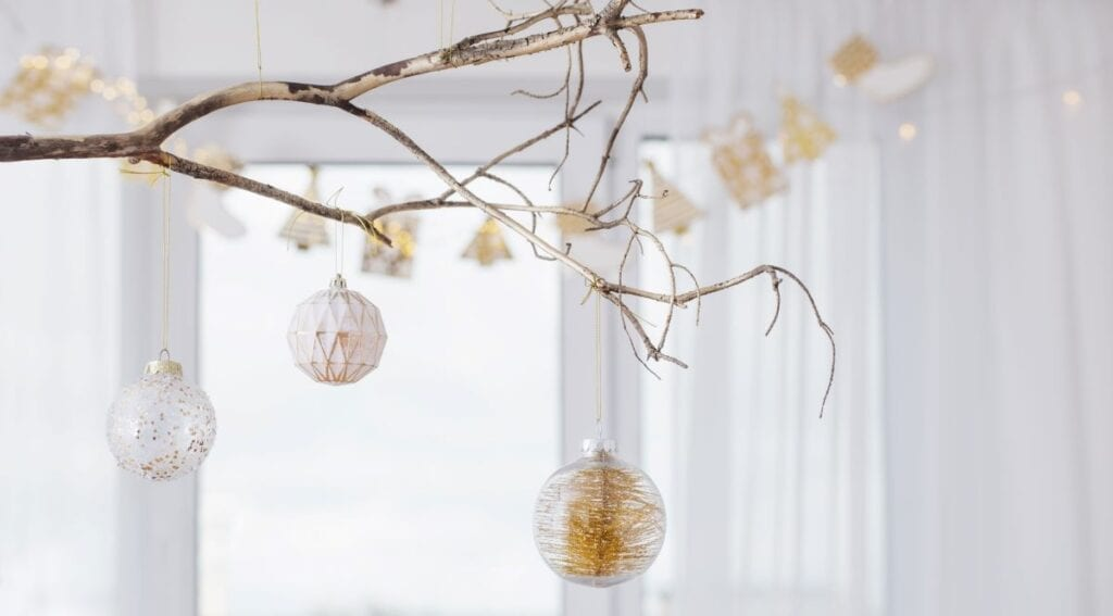 DIY Christmas ornaments on branch home decor