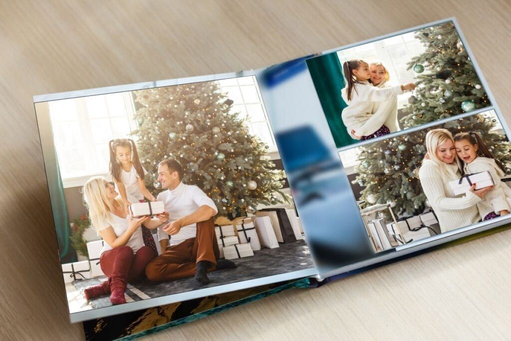Photo album with pictures of family on Christmas