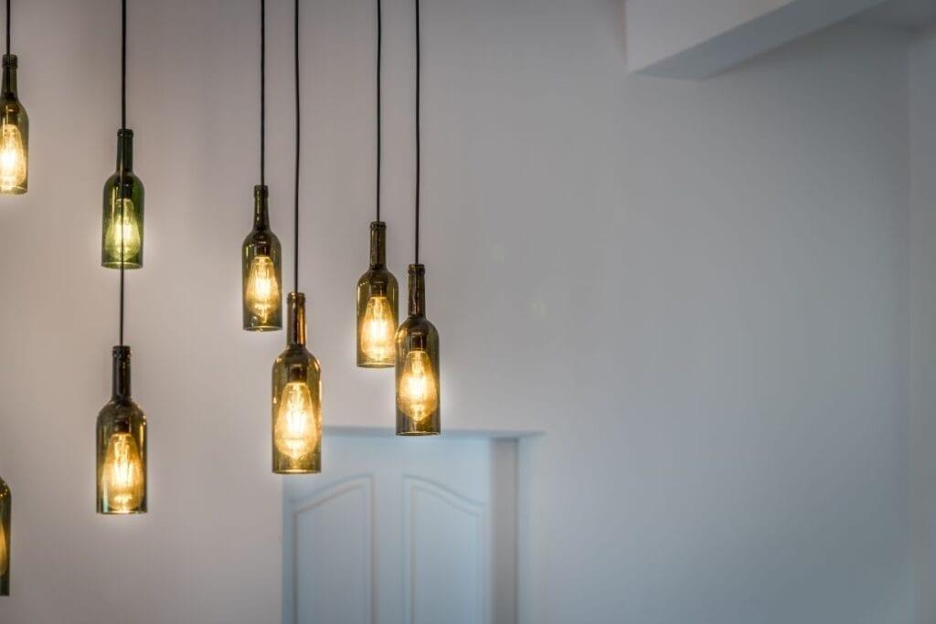 Wine bottles turned into hanging lights