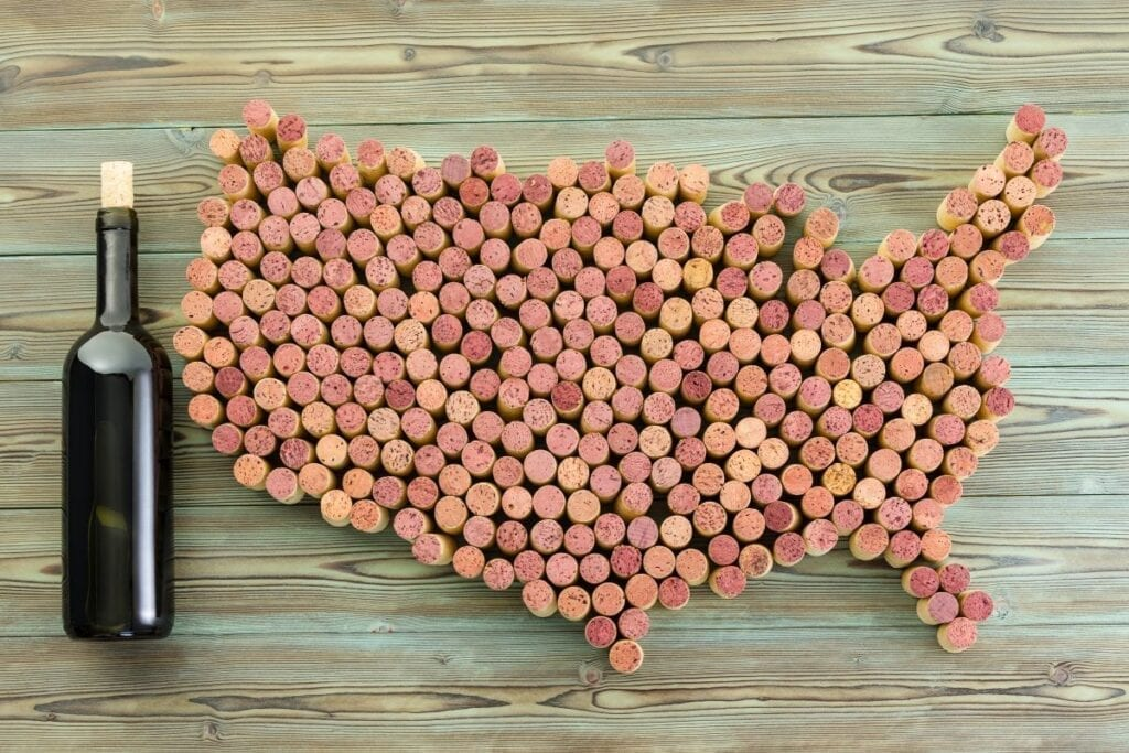 Map of the United States made out of wine corks