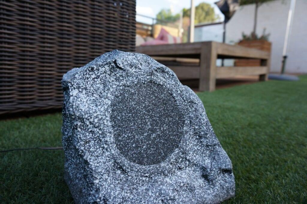 Outdoor speaker that looks like a rock