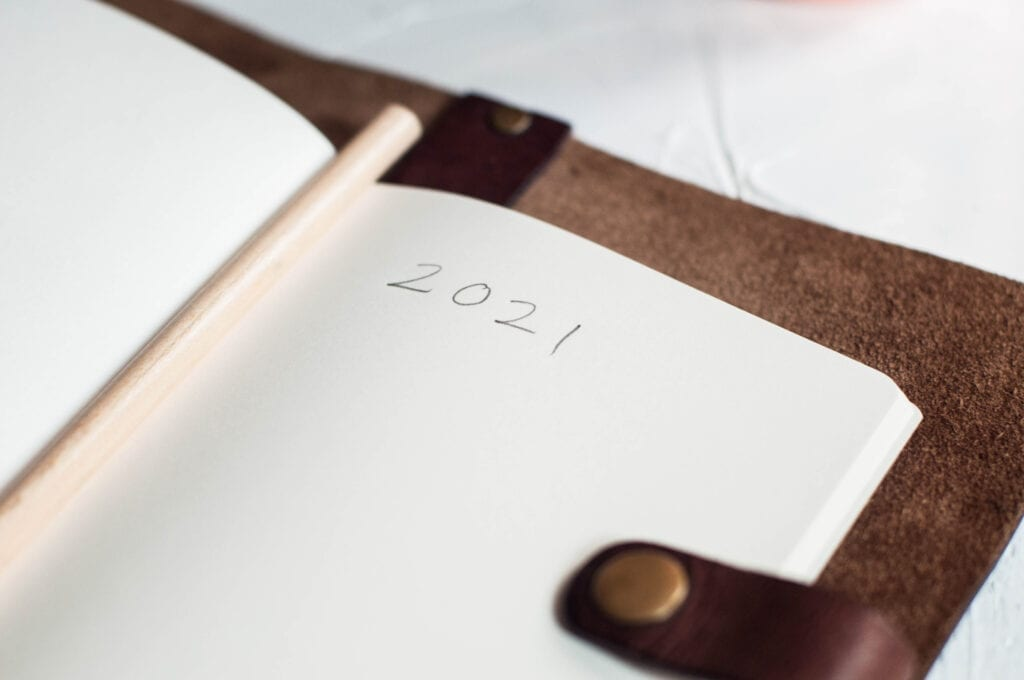 leatherbound planner with 2021 written in pencil on one page
