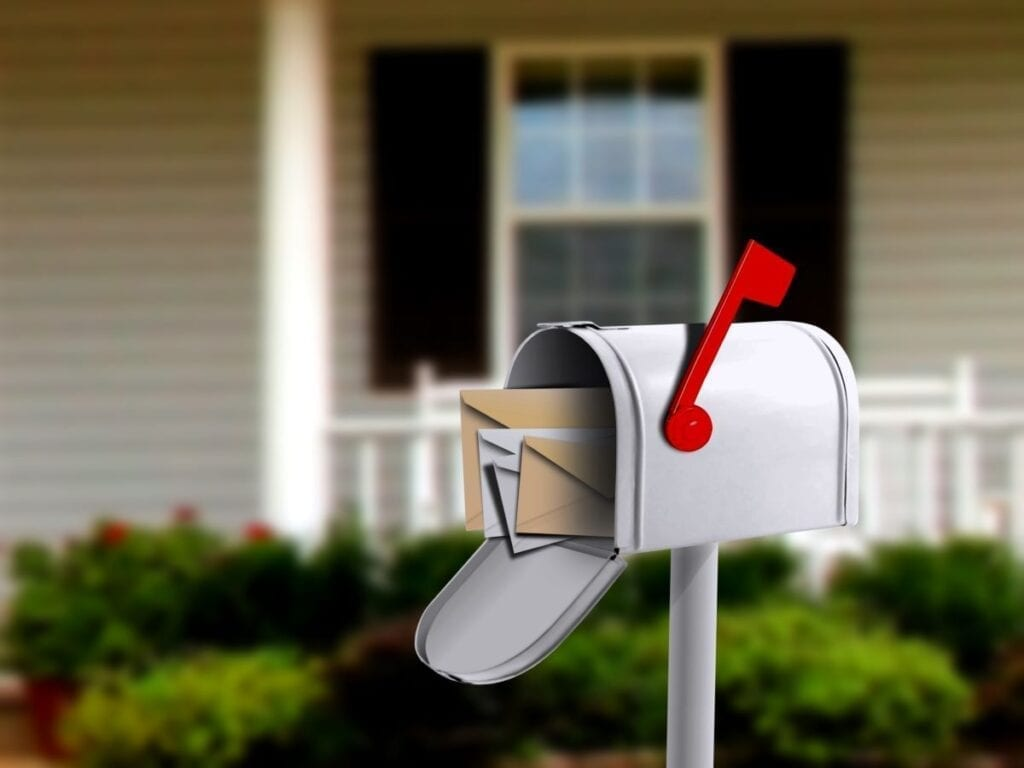 Open mailbox in front of new home, movers changed address with USPS to forward mail