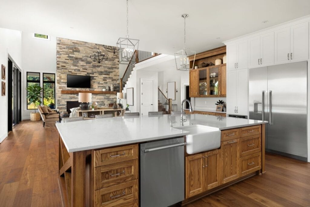 Modern rustic kitchen with island