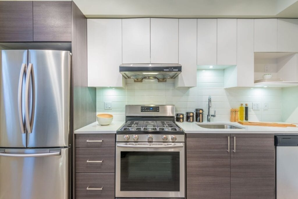 Modern kitchen remodel with stainless steel appliances