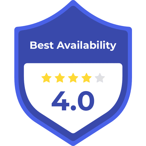 best availability badge with 4.0 stars