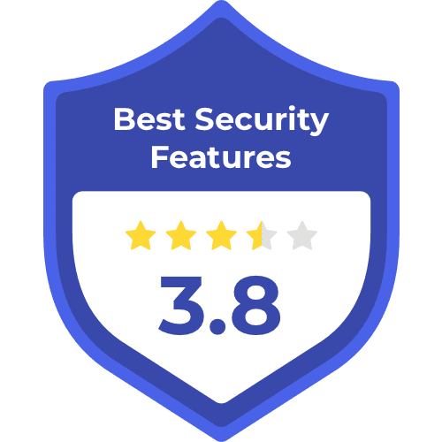 Best security features badge, with 3.8 stars