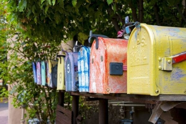 Painted antique mailboxes