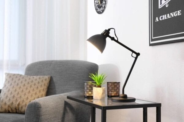 Modern lamp lights up living room